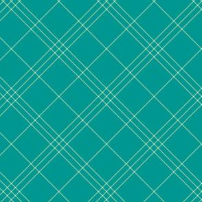"""Jacobite coat tartan, 6"""" diagonal repeat  - soft aqua with light green stripes"""