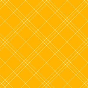 "Jacobite coat tartan, 6"" diagonal repeat  - bright gold with white stripes"