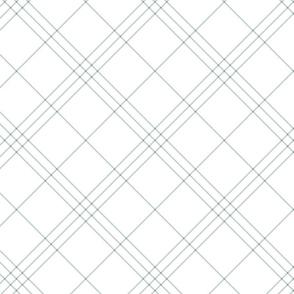 "Jacobite coat tartan, 6"" diagonal repeat  - white with slate grey stripes"