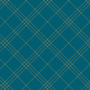 "Jacobite coat tartan, 6"" diagonal repeat  - lagoon teal with saffron stripes"