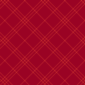 """Jacobite coat tartan, 6"""" diagonal repeat  - ruby red with bright red stripes"""