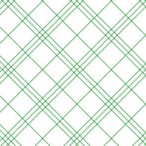 "Jacobite coat tartan, 6"" diagonal repeat  - white with spearmint green stripes"