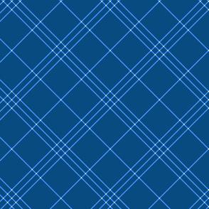 "Jacobite coat tartan, 6"" diagonal repeat  - blue with cream stripes"