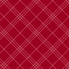 "Jacobite coat tartan, 6"" diagonal repeat  - cinnamon red with white stripes"
