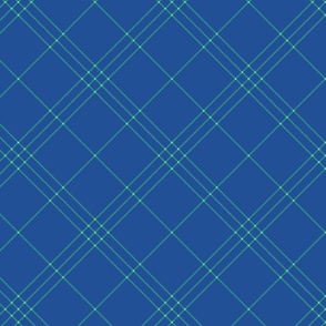 "Jacobite coat tartan, 6"" diagonal repeat  - blue with green-teal stripes"