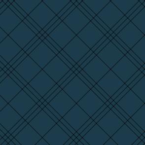 "Jacobite coat tartan, 6"" diagonal repeat  - navy with black stripes"