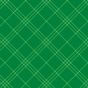 "Jacobite coat tartan, 6"" diagonal repeat  - spearmint green with white stripes"