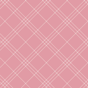 "Jacobite coat tartan, 6"" diagonal repeat  - pink with white stripes"