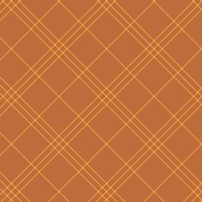 "Jacobite coat tartan, 6"" diagonal repeat  - copper brown with gold stripes"