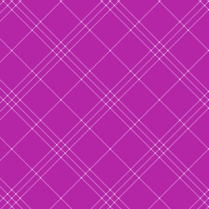 """Jacobite coat tartan, 6"""" diagonal repeat  - bright orchid with lavender stripes"""