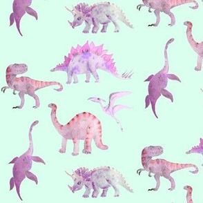 dinosaurs in pink on turquoise