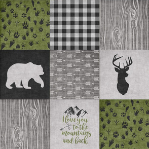 Love you to the mountains and back//Camo//Green & Black - Wholecloth Cheater Quilt