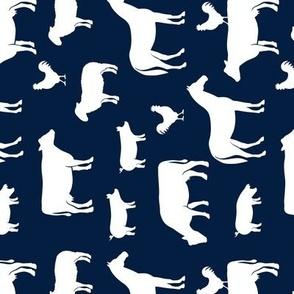 farm animal medley - navy (90)