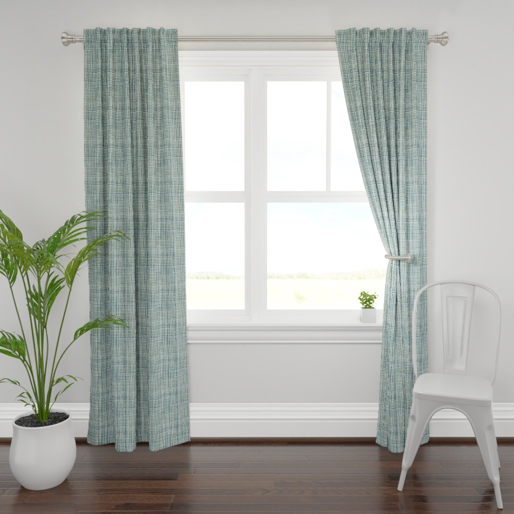 Plymouth Curtain Panel featuring Homespun Plaid (teal grey) MED by nouveau_bohemian