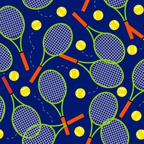 Tennis Rackets Scattered on Blue