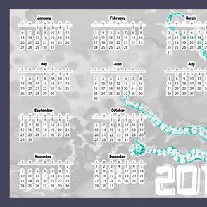 Sketched Octopus Green Calendar 2019