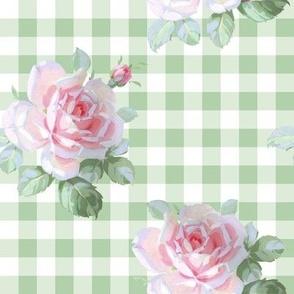 Seaside Garden Roses Gingham basil
