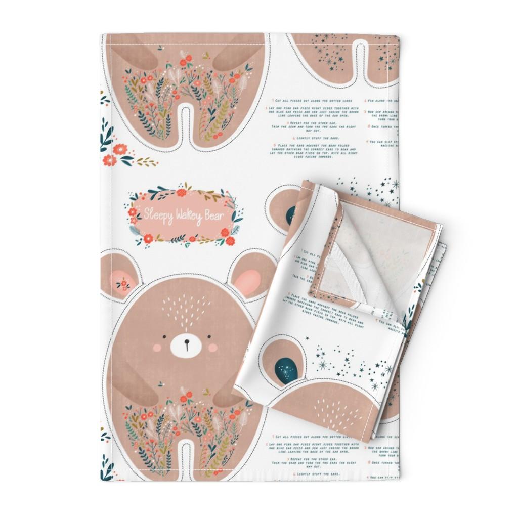 Orpington Tea Towels featuring Sleepy Wakey Bear DIY fat quarter by sarah_knight