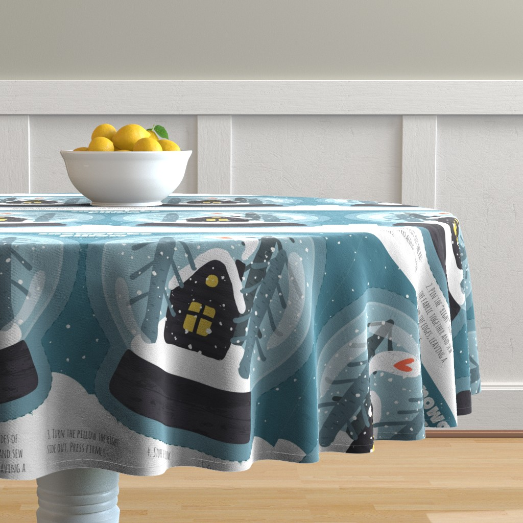 Malay Round Tablecloth featuring Snowglobe Pillow by anastasiia_macaluso