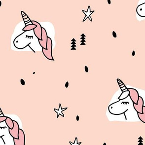 Unicorn sparkles and stars winter snow design girls christmas peach pink LARGE