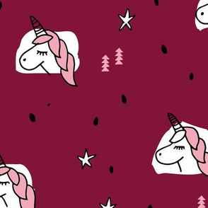 Unicorn sparkles and stars winter snow design girls christmas maroon pink LARGE