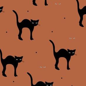 Cute retro style halloween black cats kitten design in fall winter colors copper