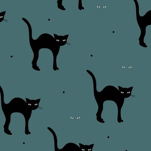 Cute retro style halloween black cats kitten design in fall winter colors gray blue