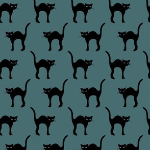 Cute retro style halloween friends black cats kitten design in fall winter colors gray blue