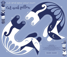 Cut and sew your own cat neck pillow // pale blue white and marine blue