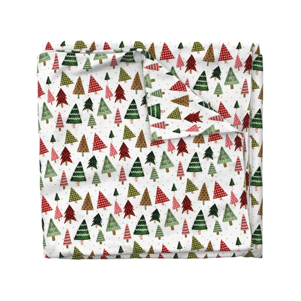 """Wyandotte Duvet Cover featuring 8"""" Holiday Pines // Gold Dots by hipkiddesigns"""