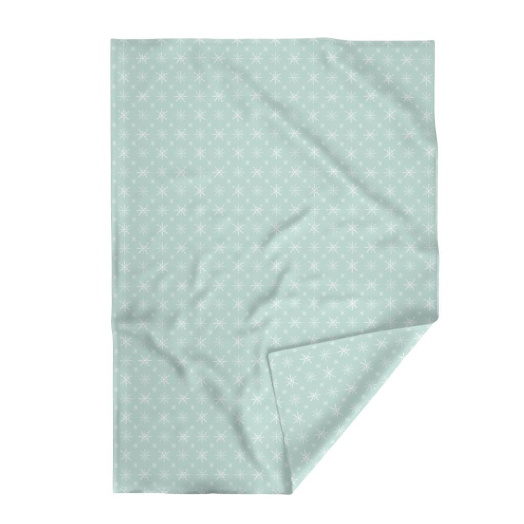 Lakenvelder Throw Blanket featuring Aqua Back Snowflakes by radianthomestudio