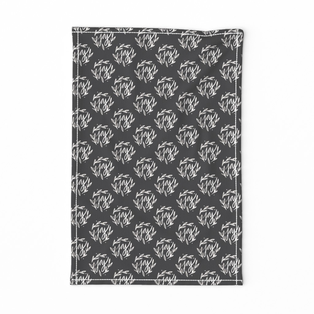 Special Edition Spoonflower Tea Towel featuring Christmas Joy in Charcoal Horizontal by radianthomestudio