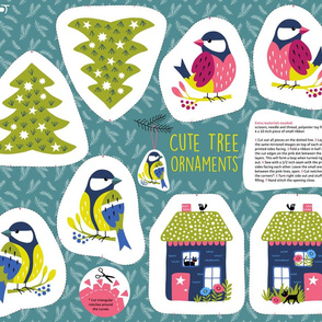 Cute tree ornaments christmas cut and sew (fat quarter)