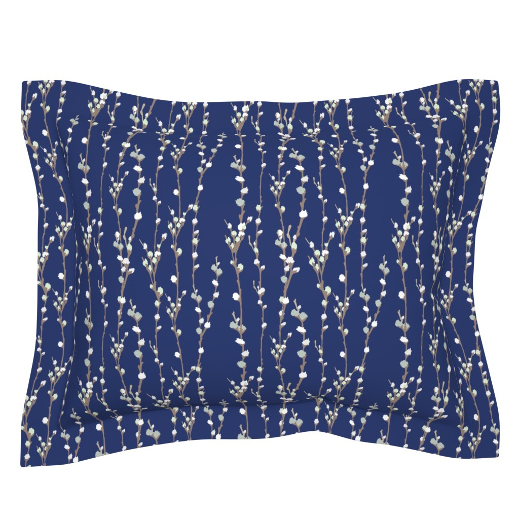 Sebright Pillow Sham featuring Pussywillows by nestboxstudio