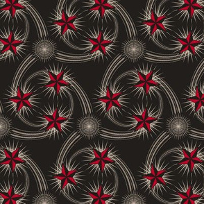 ★ NAUTICAL STAR TATTOO ★ Black and White + Red / Collection : Rockabilly Style - Retro 50s Prints