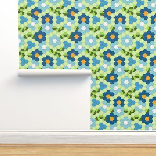 jwq hexagon grid Edc blue - Spoonflower