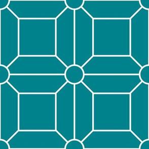 Teal & White Grid