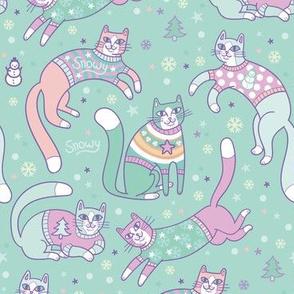 sweater kitties! in teal