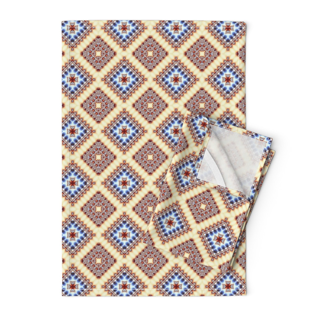 Orpington Tea Towels featuring Blue squared ornament by nadyabasos