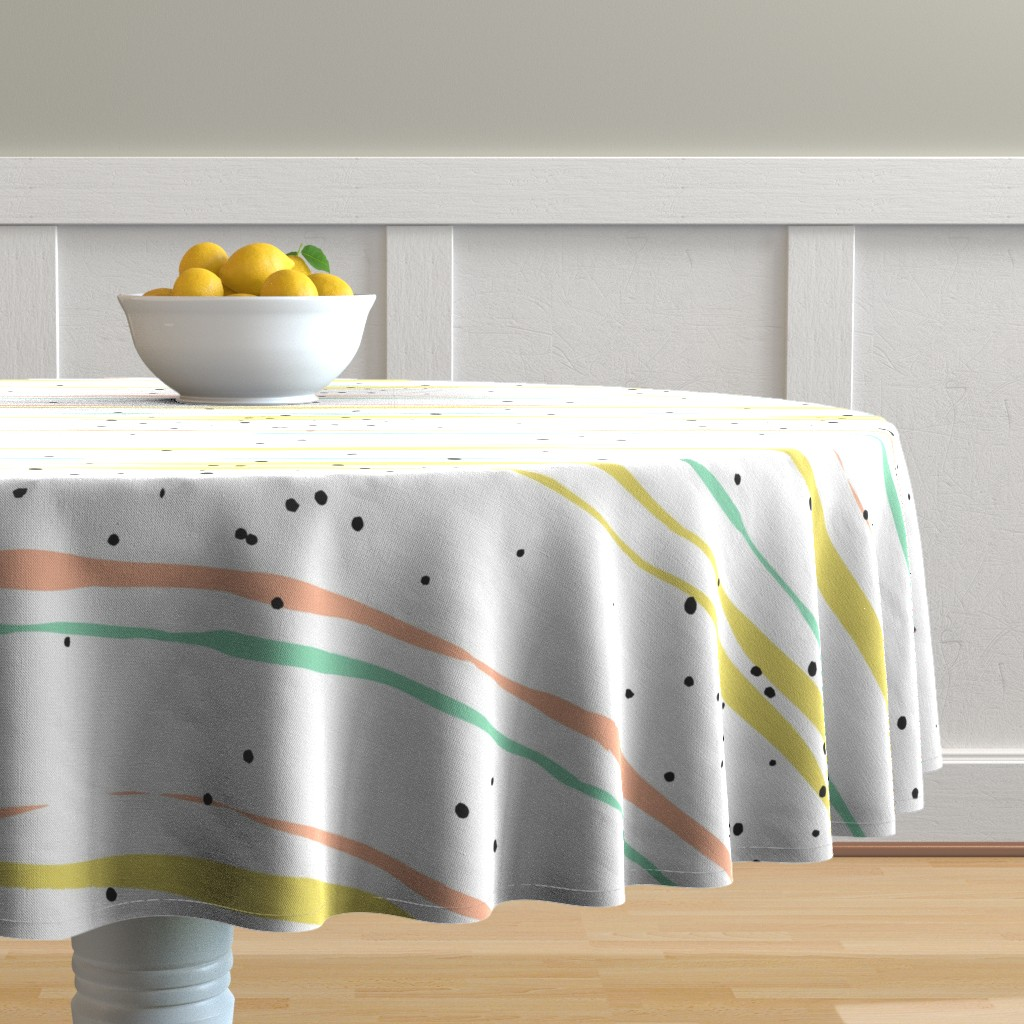 Malay Round Tablecloth featuring Striped Lines and Dots by anastasiia_macaluso