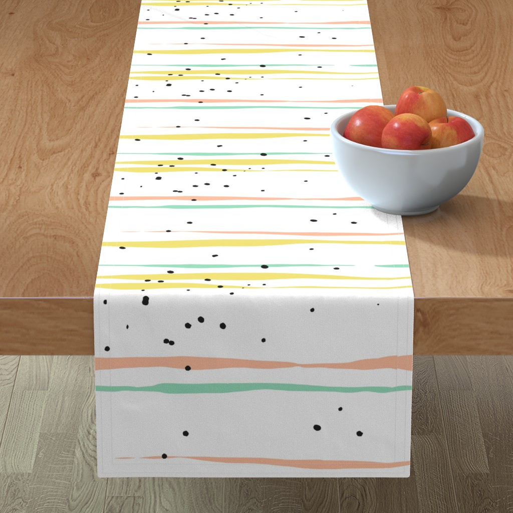 Minorca Table Runner featuring Striped Lines and Dots by anastasiia_macaluso