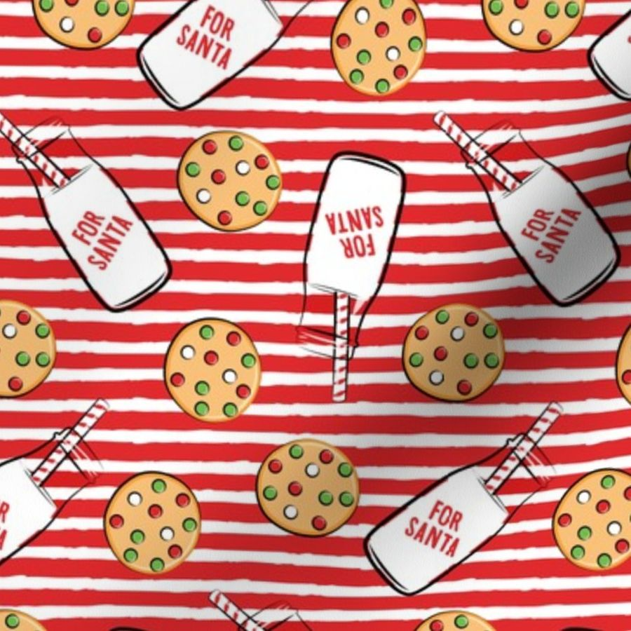 Fabric By The Yard Milk And Cookies For Santa Red Stripes