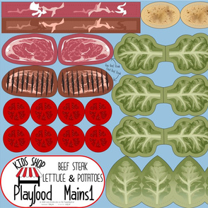 Cut and Sew: Playfood: Beef Steak and Lettuce and Potatoes