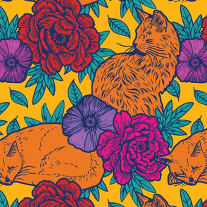 Chinoiserie Inspired Floral Design with Cats - vivid