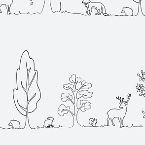 Woodland doodle in black & white
