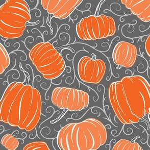 Orange + Gray Pumpkin Patch with Textured Swirl Background // Fall Holiday Print Lovely for Halloween and Thanksgiving