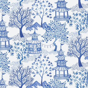 Pagoda Landscape in Blue (Drop Match)