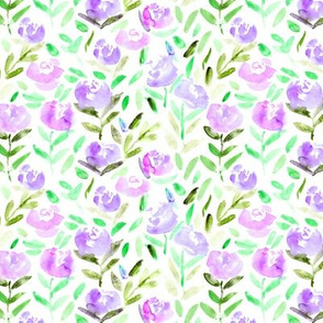Watercolor purple flowers || hand made floral pattern for nursery, home decor