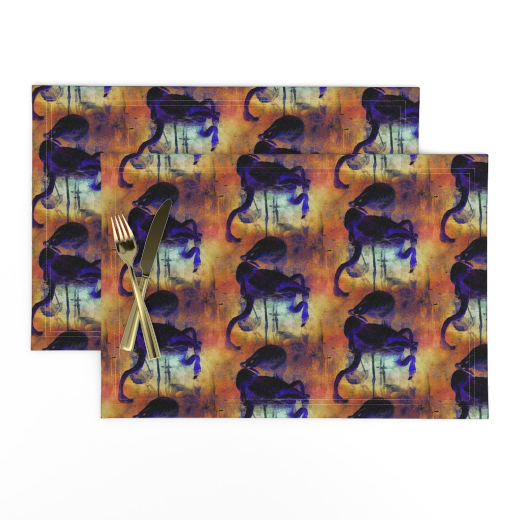 Lamona Cloth Placemats featuring FLAMINGOS POND SUNSET JAPANESE ORANGE GOLD PURPLE DOTTED PRINT by paysmage