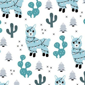 Christmas lights and seasonal llama holiday cactus tree print blue boys